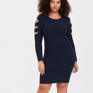 NWT Torrid Cut Out Sweater Club Dress Navy Blue 1X